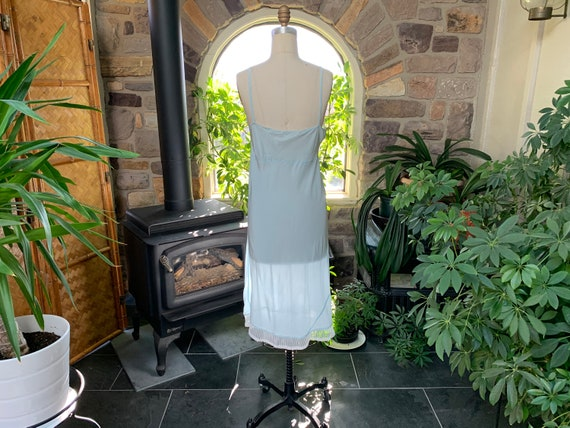 Vintage 1940s Light Blue Rayon and Lace Full Slip… - image 6