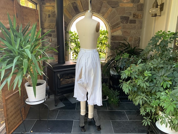 Antique 1900s Heavy White Cotton Pantaloons with … - image 7