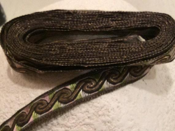 Vintage Antique métallisé or et irisé rayonne Trim, tissu Vintage, Vintage bordure