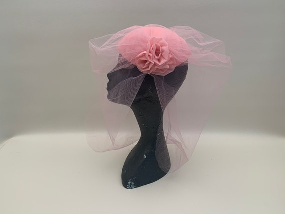 Vintage 1970s Pink Fascinator Headpiece Tulle Bird