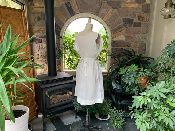 Antique White Cotton Nightgown Dress Attached Tie… - image 7