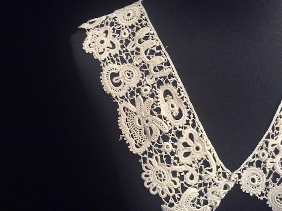 Antique Handmade Irish Lace Collar, Vintage Ecru … - image 3