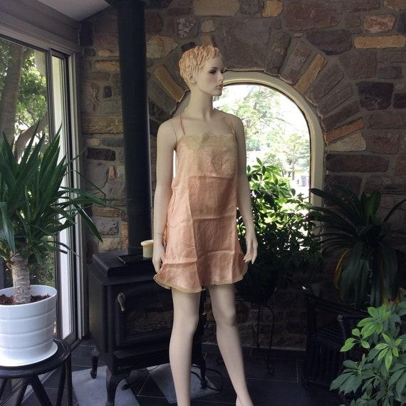Antique Peach Silk and Lace Teddy, Vintage Silk Bo