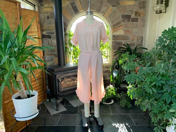 Vintage 1940s Pink Rayon 2 Piece Pajama Set Sleepy