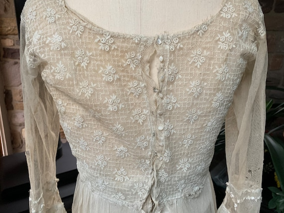 Antique Edwardian Tambour Net Lace Wedding Dress,… - image 6