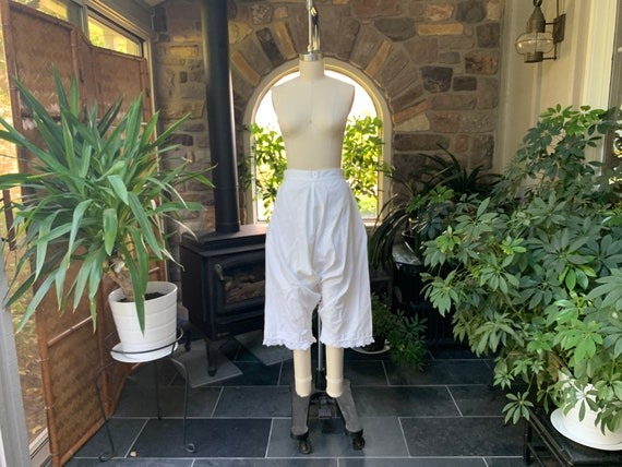 Antique Heavy White Cotton Pantaloons Crocheted La