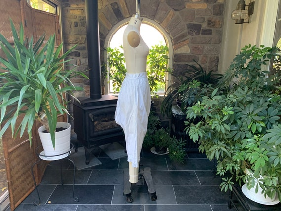 Antique 1900s Heavy White Cotton Pantaloons with … - image 8