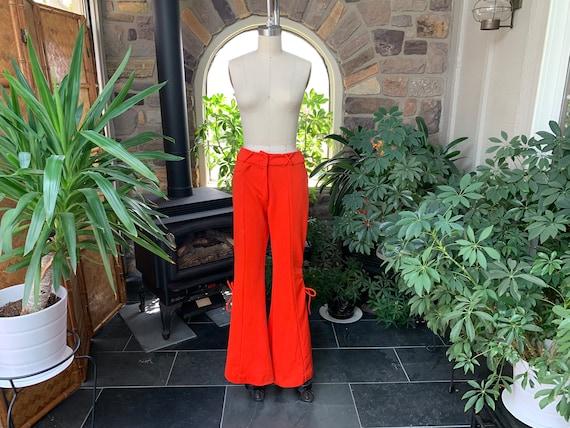 Vintage 1970s Orange Knit Bell Bottom Lace Up Pant