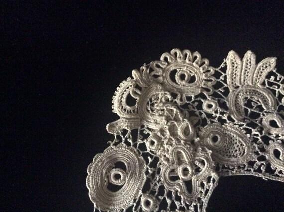 Antique Handmade Irish Lace Collar, Vintage Ecru … - image 7