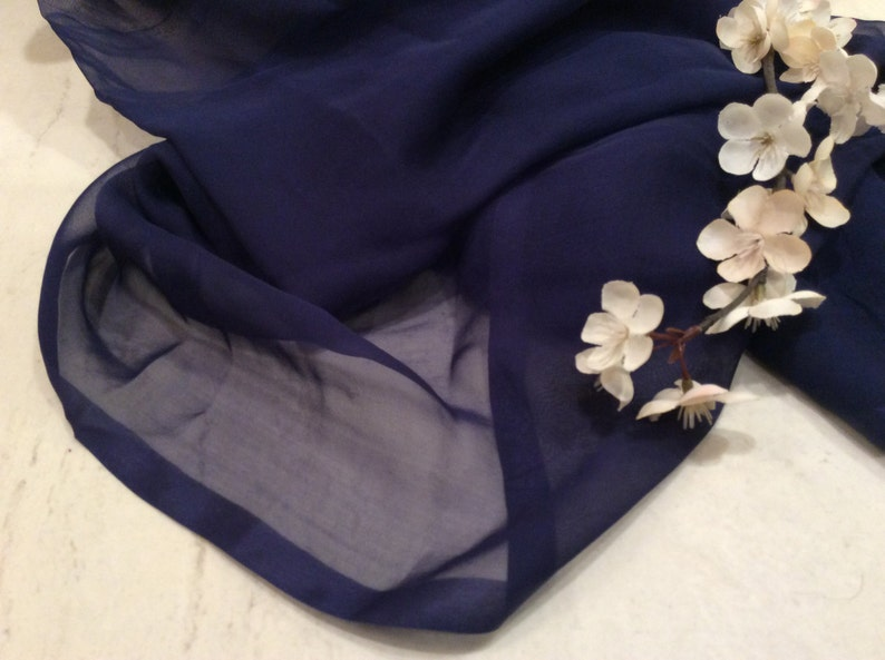 Vintage Material Vintage Sheer Blue Silk Chiffon Fabric Vintage Sewing Supplies Vintage Textiles Doll Clothes Fabric