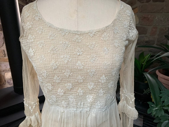 Antique Edwardian Tambour Net Lace Wedding Dress,… - image 2