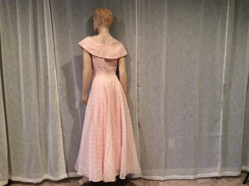 Pretty in Pink Dress Vintage Clothing Vintage Pink Gown Vintage Pink White Cotton Organdy Full Length Bridesmaid Prom Dress and Pink Slip