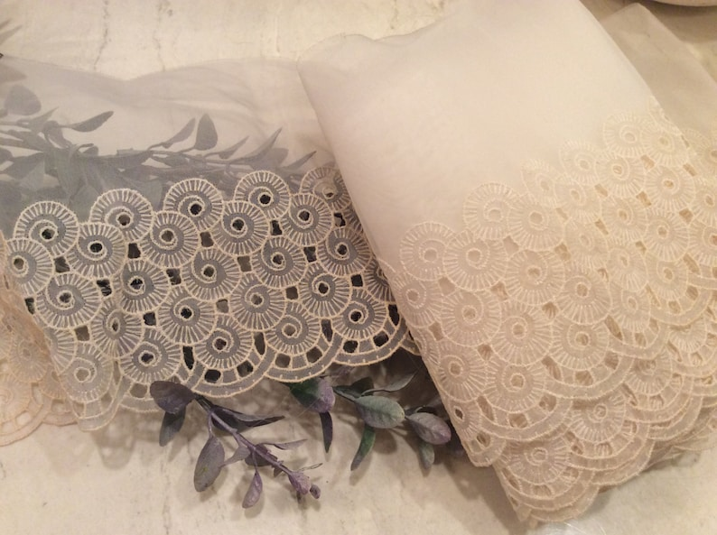 Vintage Craft Supplies Vintage Lace Vintage Wide Ivory Nylon Lace with Swirl Embroidery- Scalloped Edge Lace Vintage Sewing Supplies