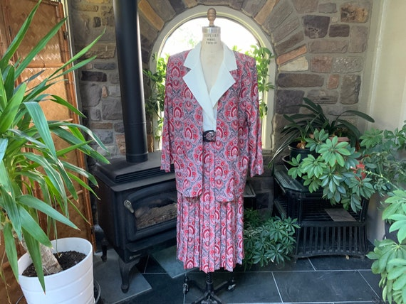 Vintage 1990s Red Black Gray Polyester Dress with… - image 1