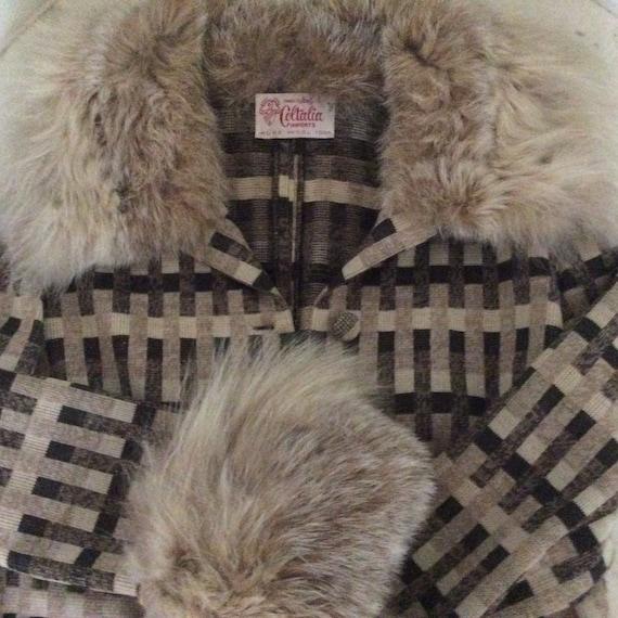 Vintage 1960s Brown and Beige Plaid Wool Jacket F… - image 10