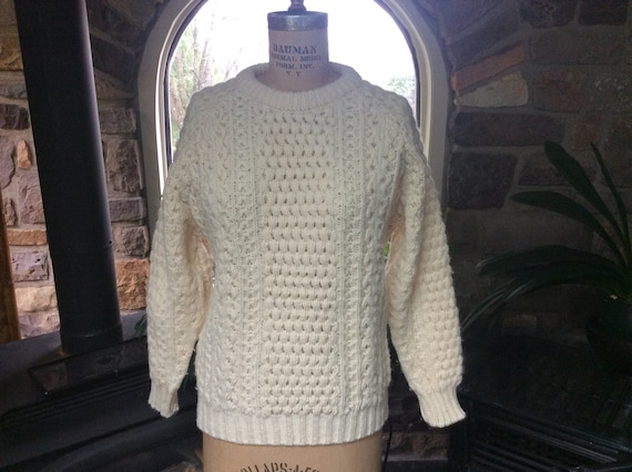 Vintage 1970s Irish Fisherman Wool Sweater Unisex,