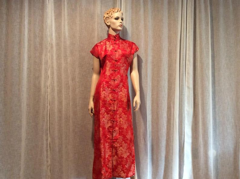 4ab522723 Vintage Red Gold Cap Sleeve Cheongsam Silk Satin Oriental | Etsy