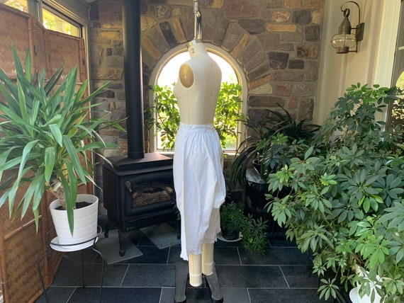Antique 1900s Heavy White Cotton Pantaloons with … - image 5