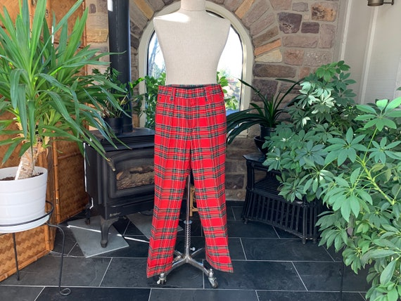 1970s Vintage Men's Red Plaid Wide Cuff Pants Fara