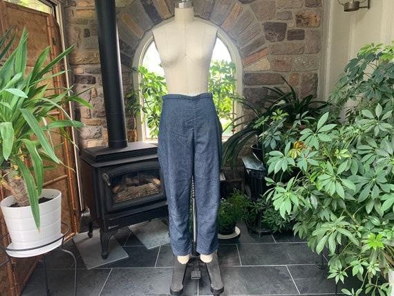 Vintage 1960s Blue Demin Side Zipper Ankle Length