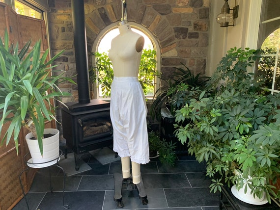 Antique 1900s Heavy White Cotton Pantaloons with … - image 3