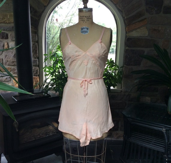 Antique 1920s Peach Silk Embroidered Teddy, Vintag