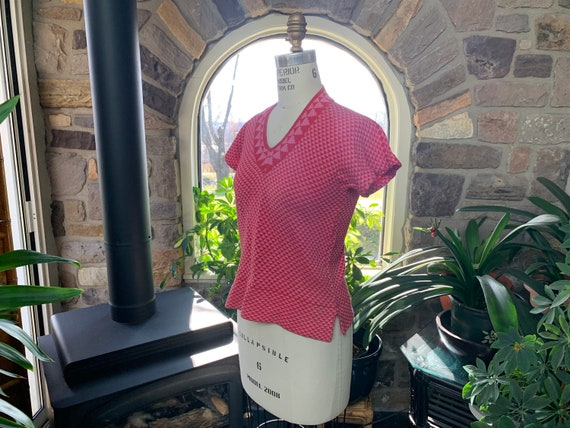 Vintage 1970s Kenzo Pink Cotton Knit Short Sleeve… - image 3