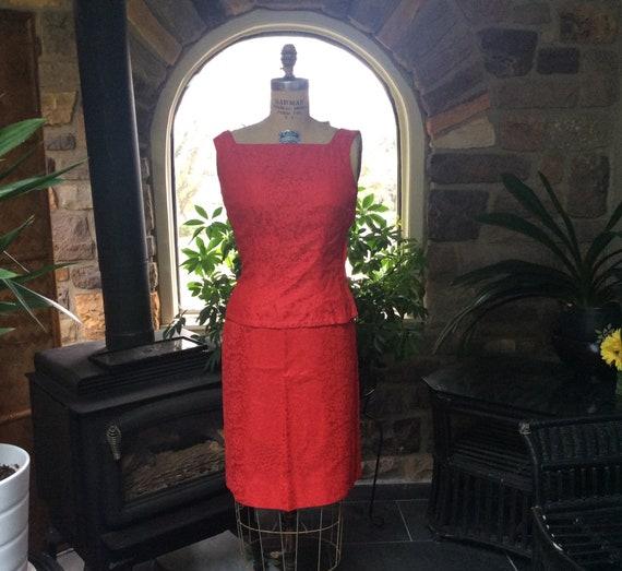 Vintage 1960s Red Lace Dress, Vintage Beautiful Re
