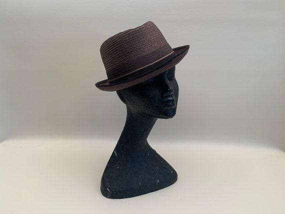 Vintage 1960s Men's Brown Imported Milan Straw Fe… - image 1
