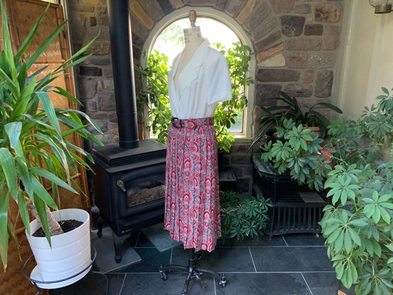 Vintage 1990s Red Black Gray Polyester Dress with… - image 4