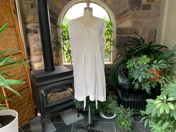 Antique White Cotton Nightgown Dress Attached Tie… - image 2