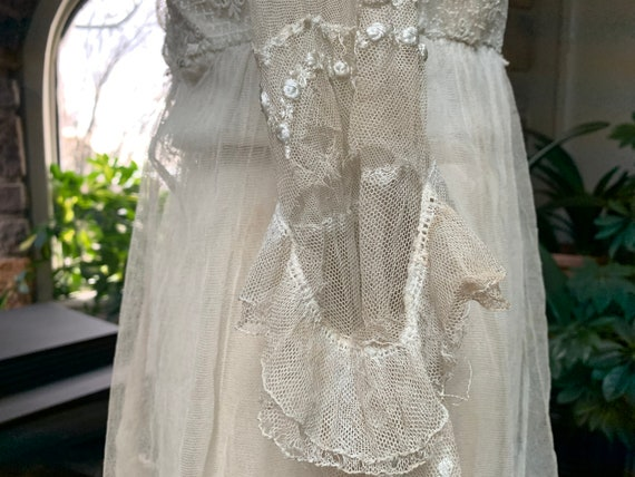 Antique Edwardian Tambour Net Lace Wedding Dress,… - image 9