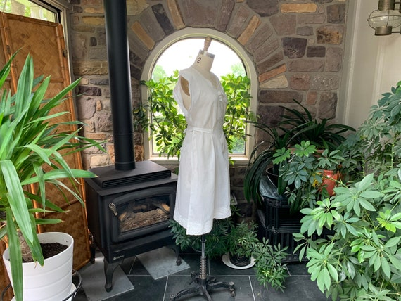 Antique White Cotton Nightgown Dress Attached Tie… - image 9