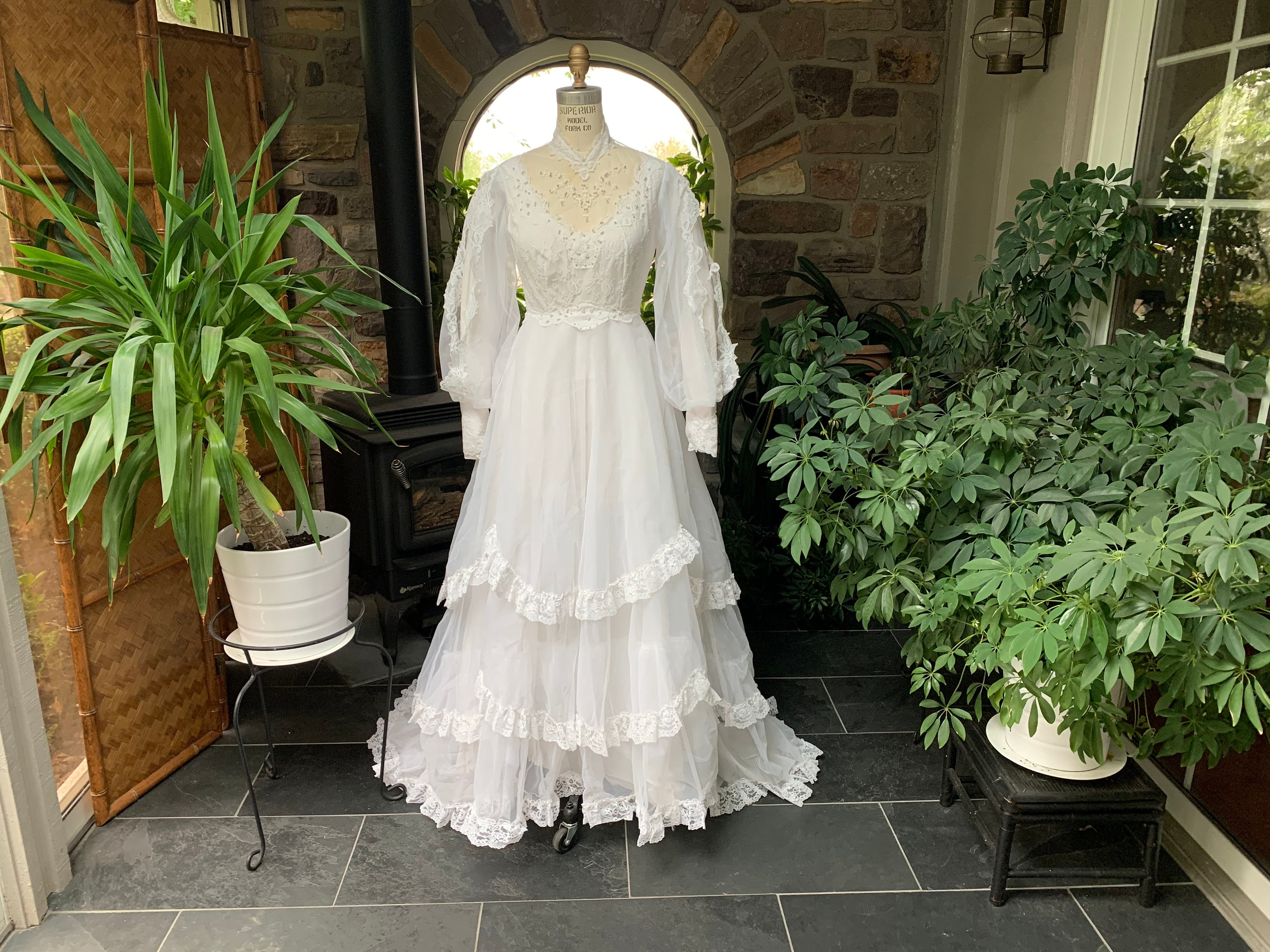 80s Dresses | Casual to Party Dresses Vintage 1980S White Nylon Chiffon  Lace Wedding Dress Scalloped Ruffled Skirt Train Matching Hat With Veil, Gown $265.00 AT vintagedancer.com