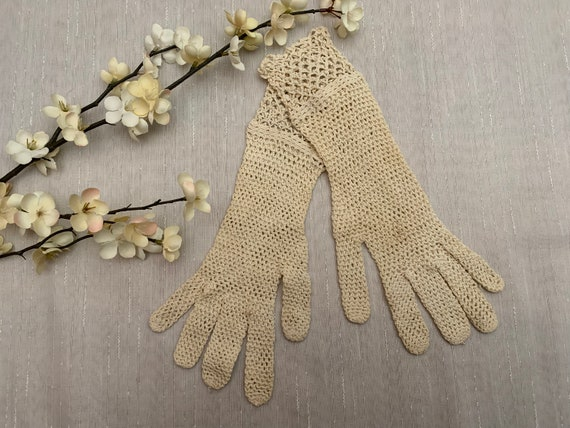 Vintage Crocheted Lace Gloves, Vintage Crocheted E