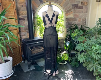 Vintage 1940s Sexy Sheer Black Chiffon and Lace Bias Cut Nightgown, Vintage Forties Black Night Gown, Vintage Gothic Bridal Lingerie