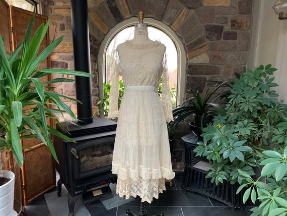 Antique Edwardian Tambour Net Lace Wedding Dress,