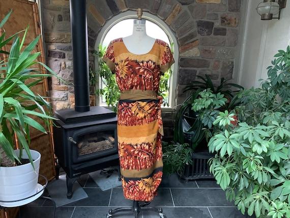 Vintage 1990s Bamboo Print Sarong Dress Jessica Ho
