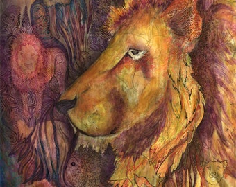 Lion Painting PRINT - (8in x 12in) Original Watercolor Painting