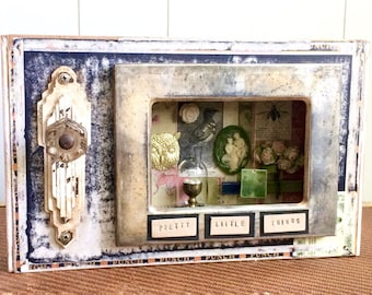 Pretty Little Things, Assemblage Art, Altered Art, Cigar Box, Silver Frame, Cameo