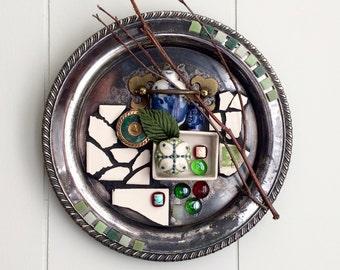 Assemblage Art, Original Assemblage Art, Mosaic Art, Silver Tray