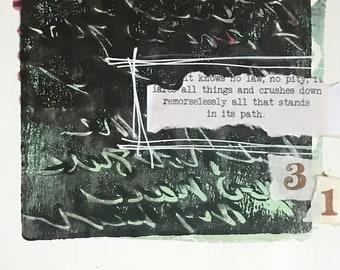 Gelli Print Art, Abstract Art, Mono Print Paper