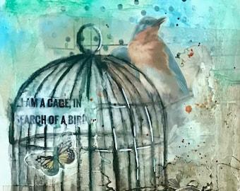 Birdcage, Collage, Original Art, Blue Bird