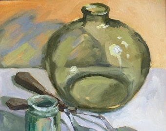 Green Bottle, Oil Painting, Daily Painter, Daily Painting, Original Art