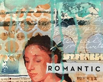 Mixed Media Art, Original Art, Romantic, Summer, Collage Art