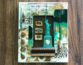 America, All Wound Up, Assemblage Art, Statue of Liberty, Liberty, Shadow Box Art