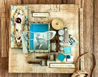The Eyes Are Useful, Assemblage Art, Mixed Media Art, Eyes, Opera Glasses, Vintage Collage