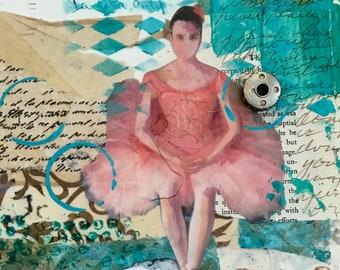 Original Mixed Media Art, Original Collage Art, Layerd Art, Ballerina