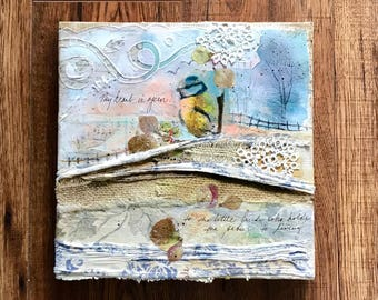 Cold Wax Art, Collage Landscape, Little Bird, Bird in Art, Textile Art
