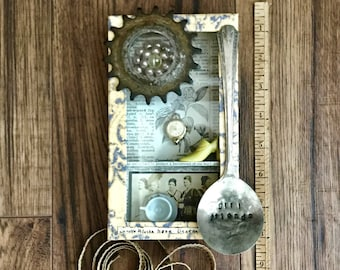 Girlfriends, Assemblage Art, Vintage Photo, Mixed Media, Yellow Shoes, 3D art, Collage